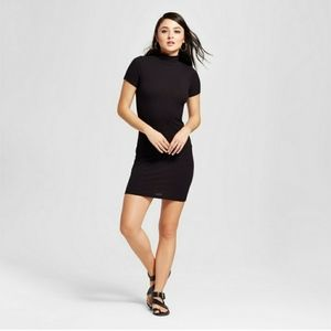 Black Ribbed Sweater Midi Dress